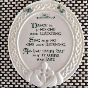 Irish Blessing Porcelain CLADDAGH DESIGN! IVORY!